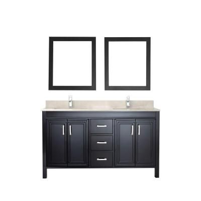 Studio Bathe, Dawlish 60 in. Vanity in Espresso with Marble Vanity Top in Beige and Mirror, DAWLISH 60 ESPRESSO-BEIGE at The Home Depot - Mobile
