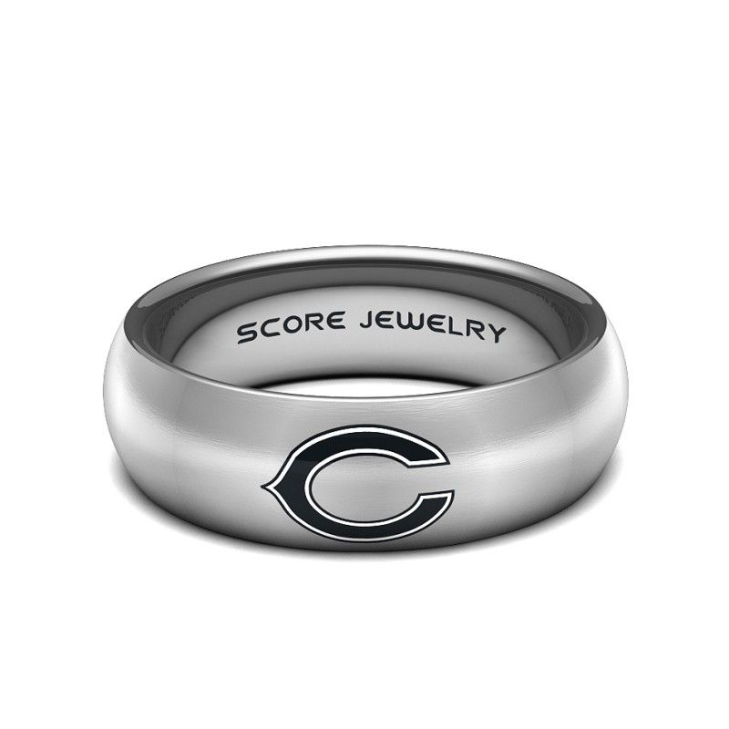 Black Tungsten Band With Domed Edge NFL Football Chicago Bears Logo Ring
