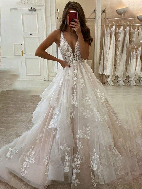 2021 A-Line Organza V-neck Sleeveless Applique Long Wedding Dresses