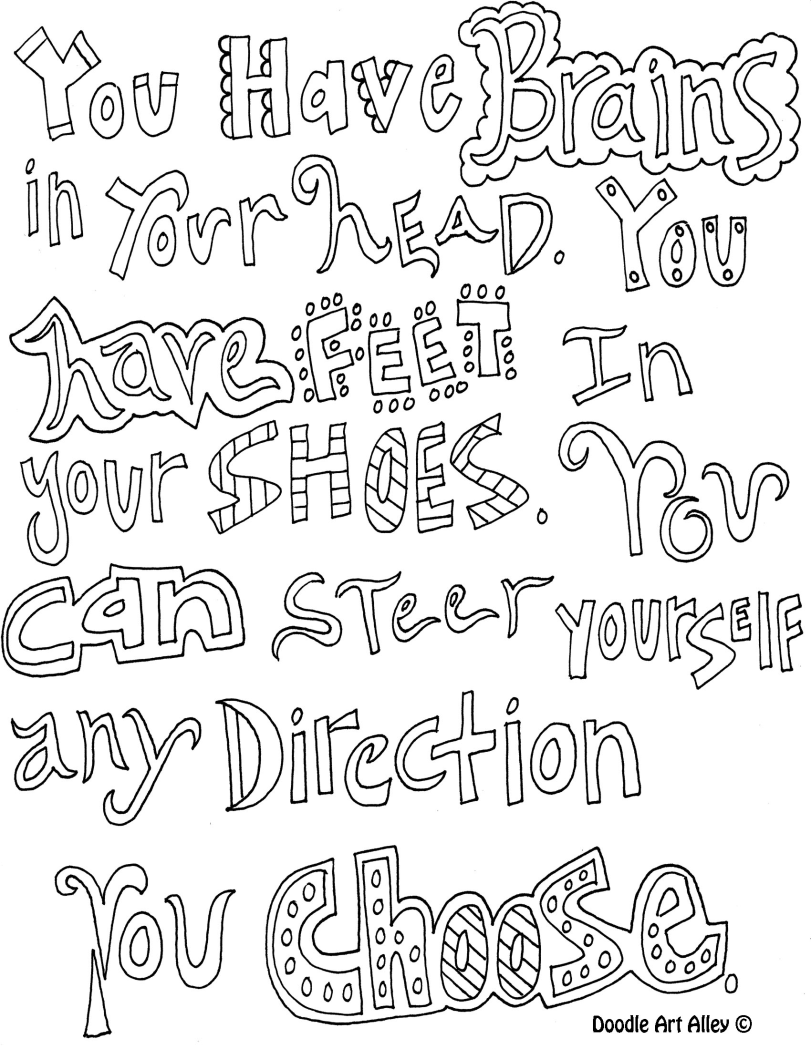 You Have Brains Quote For Coloring Quote Coloring Pages Color Quotes Dr Seuss Coloring Pages