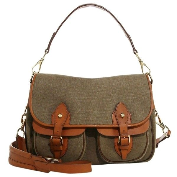 Pre-owned Ralph Lauren Hunting Canvas Messenger Shoulder Bag ($590) ❤ liked on Polyvore featuring bags, messenger bags, olive, ralph lauren, shoulder bag, canvas courier bag and brown bag