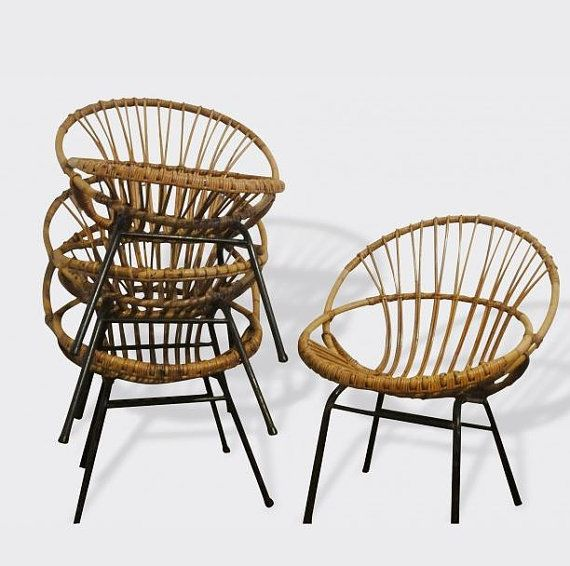 Rattan Basket Armchair Adult Metals Legs Bamboo By Popvintages Fauteuil Rotin Panier Rotin Deco Vintage