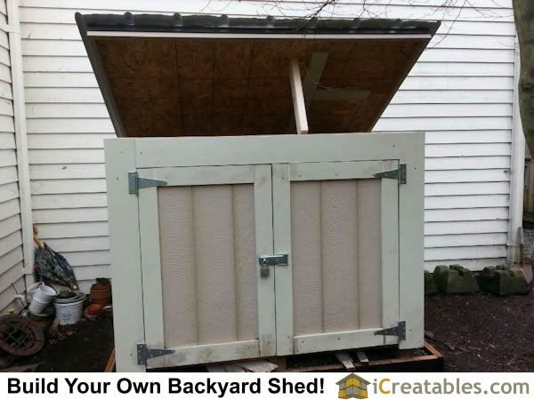 Small Generator Shed Plan Built With Openable Roof And Double Doors.