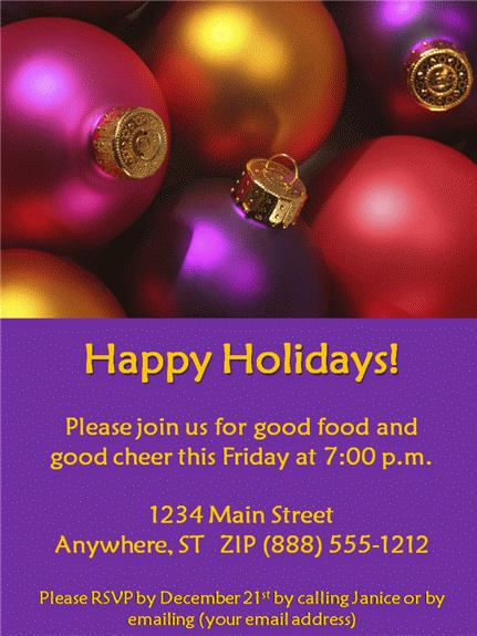 Happy Holidays Invitation Template