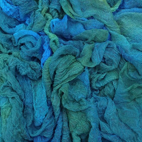 Hand Dyed Cotton Scrim/Gauze/Art Cloth/Scarf for nuno felting/art and mixed media projects. Col.No. 08 Lagoon - Blue, Teal, Turquoise