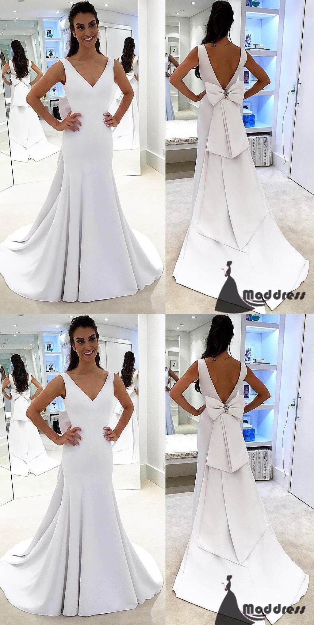 Vneck long prom dress mermaid evening dress backless white formal