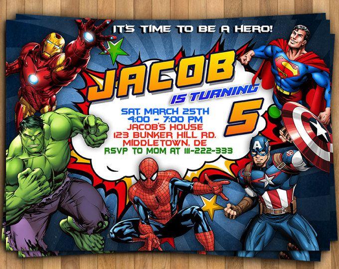 Superheroes Superhero Birthday Party Avengers Super Hero Squad Invitation Birthday Invitation Invite Diy Digital File Ide
