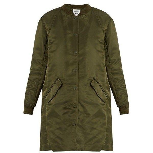 Muveil Padded bomber jacket ($402) ❤ liked on Polyvore featuring outerwear, jackets, khaki, khaki jacket, bomber jacket, muveil, oversized bomber jacket and bomber style jacket