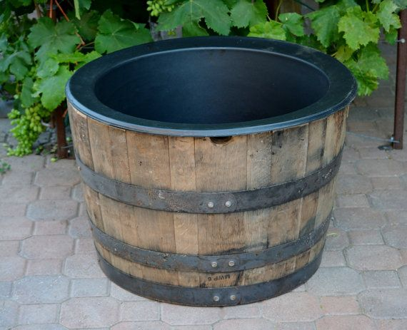 1 2 Planter Whiskey Barrel With Liner Whiskey Barrel Barrel Planter Barrel