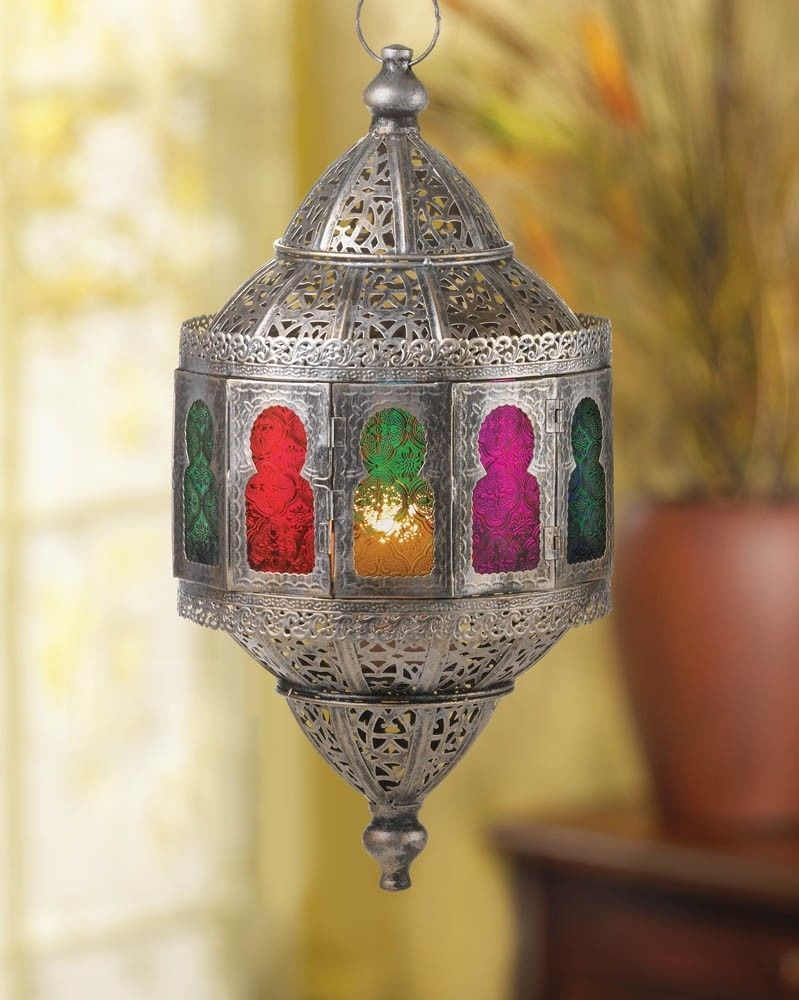Rustic Moroccan Hanging Candle Lantern Colorful Home Decor New Style Ship Art Homelocomotion