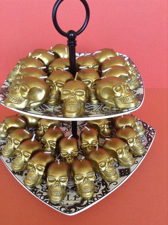 Bulk Lot Of 30 Metallic Gold Skull Shaped Candles Halloween Wedding - bulk halloween decorations