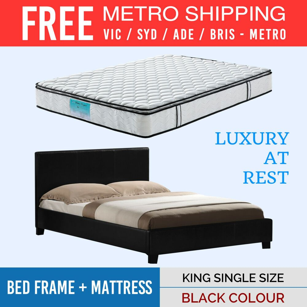 Mondeo Bed Frame & Latex Pillow Top Mattress Combo King Single Free Del Metro #pillowtopmattress
