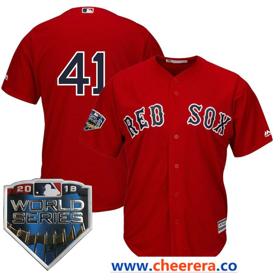 a8278d396  41 Chris Sale Men s Boston Red Sox Majestic Scarlet 2018 World Series Cool  Base Player Number Jersey
