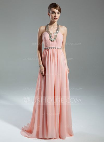 Mother of the Bride Dresses - $148.99 - A-Line/Princess Halter Sweep Train Chiffon Charmeuse Mother of the Bride Dress With Ruffle Beading (008015545) http://jjshouse.com/A-Line-Princess-Halter-Sweep-Train-Chiffon-Charmeuse-Mother-Of-The-Bride-Dress-With-Ruffle-Beading-008015545-g15545?ver=xdegc7h0