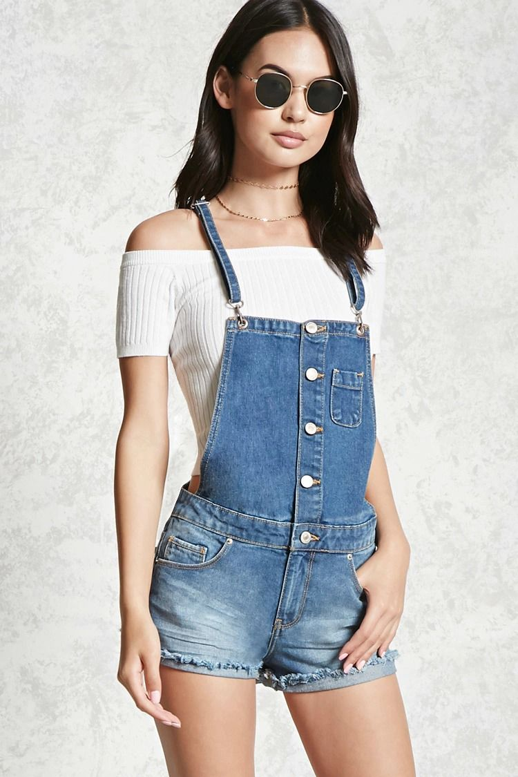 6416810b0299d A pair of cutoff overall shorts featuring a button-down front