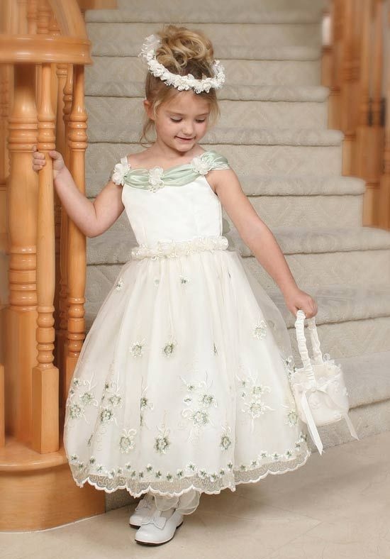 Beautiful Off-the-Shoulder A-line Ankle-length Appliques Flower Girl Dresson Sale With USD$ 99.69 : Weddingshe.com