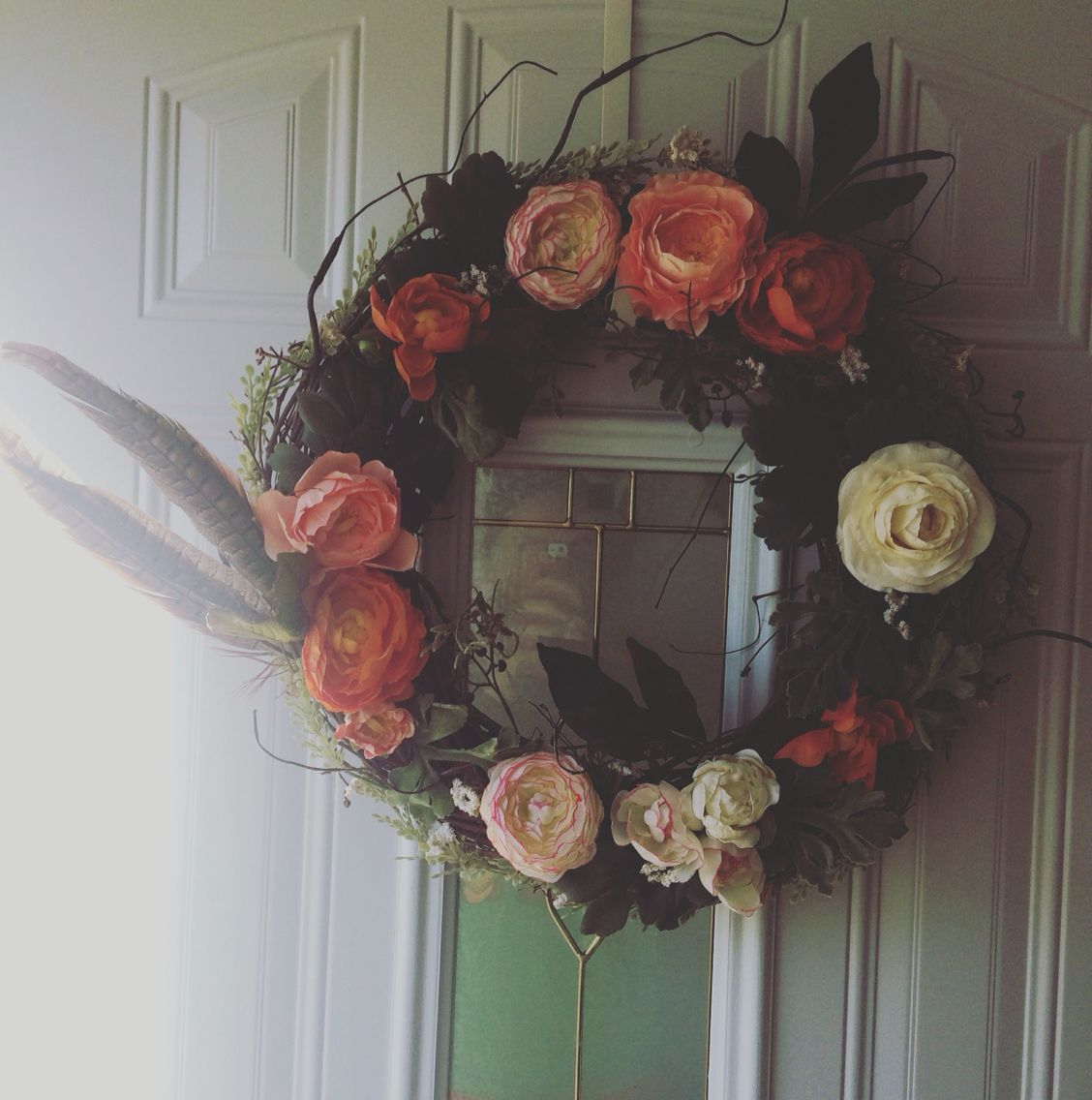DIY wreath. Flowers/supplies from Michaels and Hobby Lobby