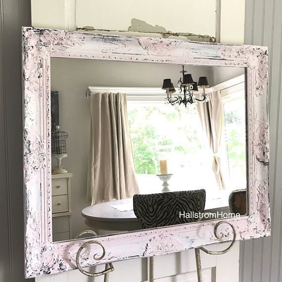 Shabby Chic Mirror Large Pink Mirror Bathroom Mirror Vanity Mirror Baroque  Mirror Wall Mirror Ornate Mirror
