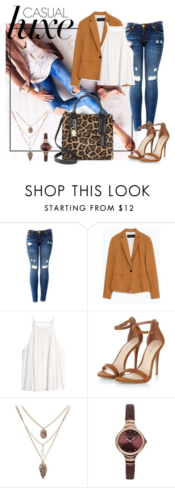 """""""Get inspired: Casual Luxe"""" by vinagrace ❤ liked on Polyvore featuring Zara, H&M, Emporio Armani and Michael Kors"""
