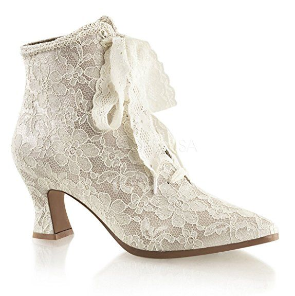 Fabulicious Ankle-Booties Spitze Victorian-30 Elfenbein Gr.36 Higher-Heels EQ5vy