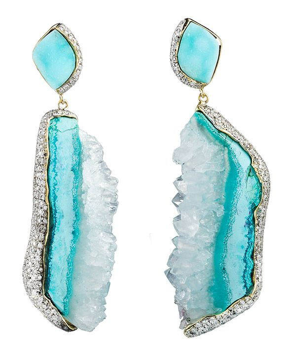 FOR THE LOVE OF JEWELRY — Hemimorphite Earrings with 18k Gold & Diamonds...