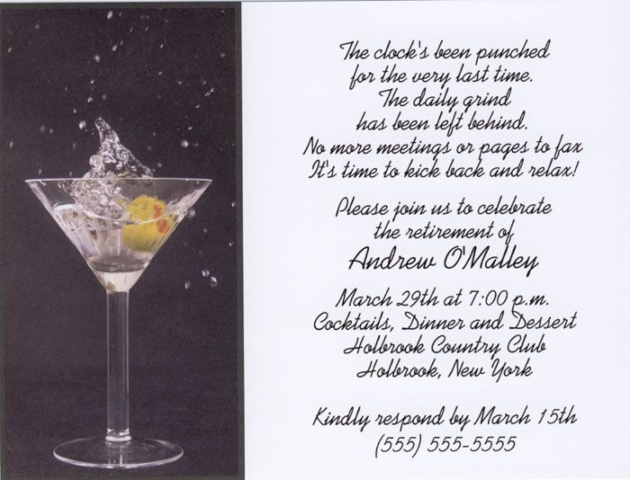 martini toast retirement party invitations