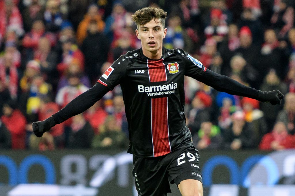 Kai Havertz of Leverkusen celebrates after scoring the 1-2 lead ...