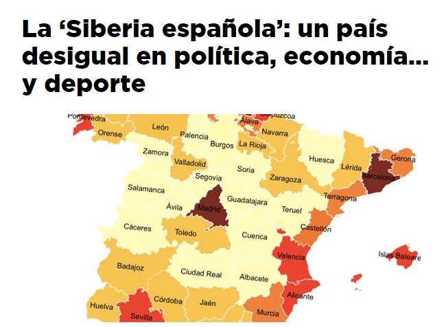 La 'Siberia española': un país desigual en política, economía… y deporte / @yorokobumag | #socialgeo