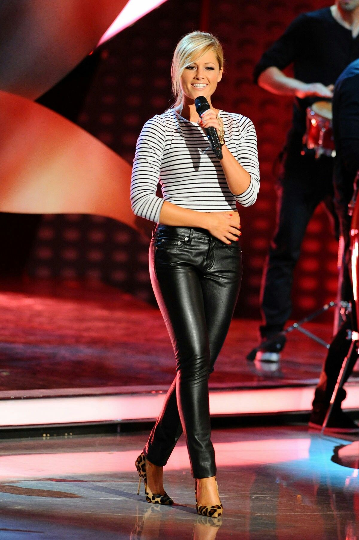 Helene Fischer attends Welcome to Carmen Nebe | Leather Pants ...