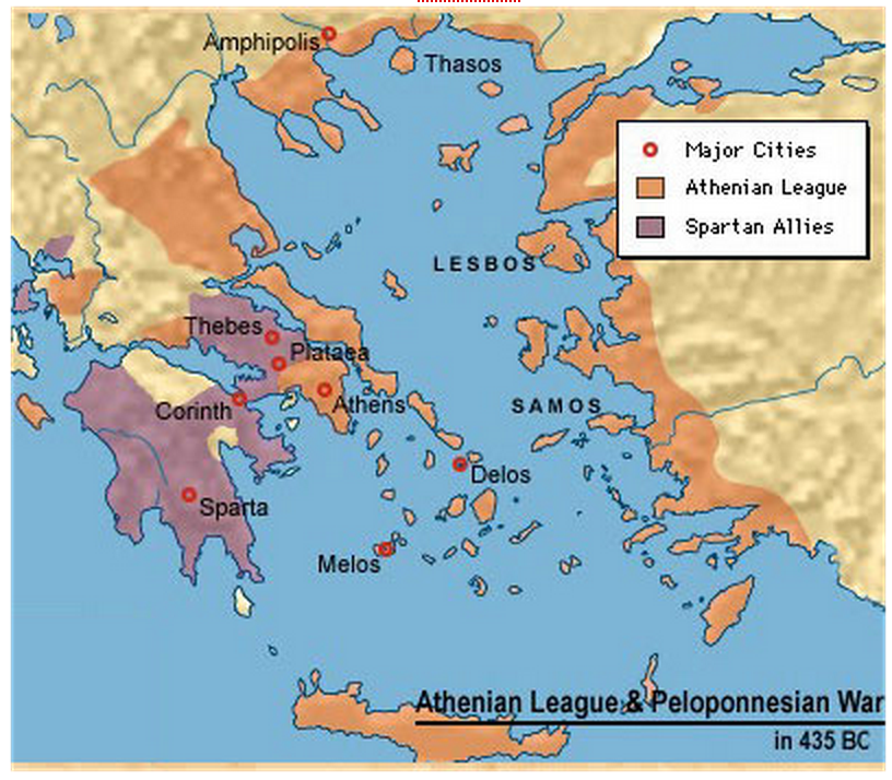 Map Of Sparta Map showing relative locations of Athens, Sparta, and their allies