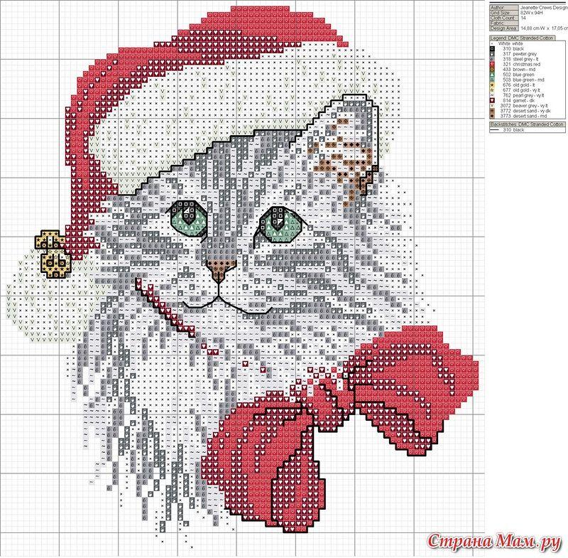 ♥~~ Cat cross stitch ~~ ♥~~ Holiday Kitty | Cross stitch ...