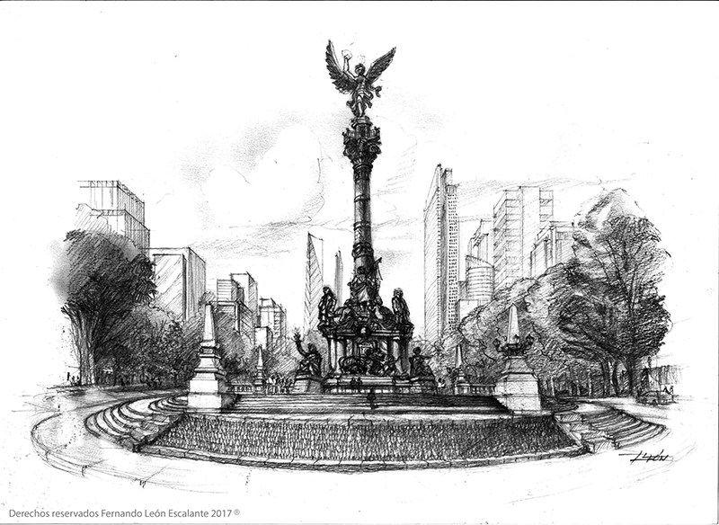 20 Vista De La Glorieta Del Angel De La Independencia Arquitectosmx Com Nueva York Pintura Arquitectura De Acuarela Bocetos Arquitectonicos