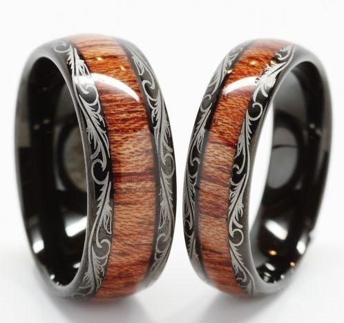 Tungsten Wedding Band Wedding Band Set Matching His Hers Wedding Ring Wood Inlay