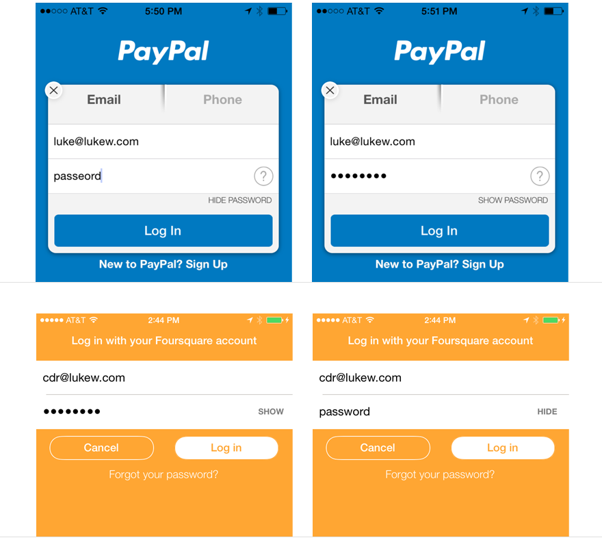 PayPal and Foursquare Show Password   Well, Isn't That Smart