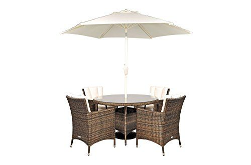 Savannah Rattan Garden Furniture 4 Seat Round Glass Top Table Dining Set  With Free Parasol With