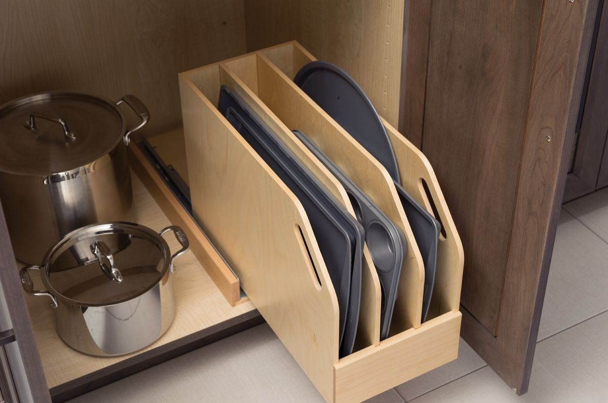 Tray Pull Out In Dura Supreme Cabinetry Baking Sheet Storage Cookie Sheet Storage Kitchen Cabinet Organization