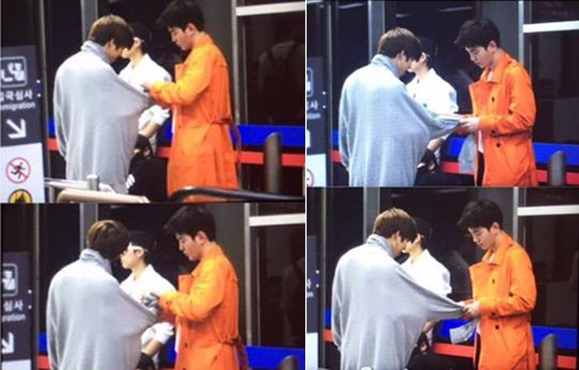 150420 Gimpo Airport Dongwoo & Sungjong. Yeol tied Dongwoo's sleeve and no one helped him untie except kind Jong. xD #choding #dongjong