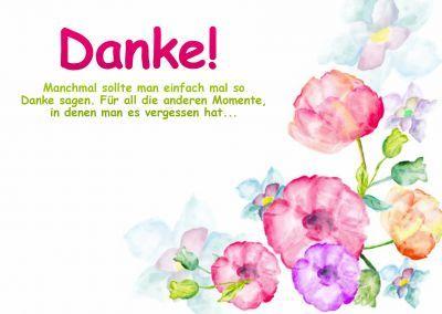 Dankeskarte mit Aquarell gemalten Blumen zum Danke sagen