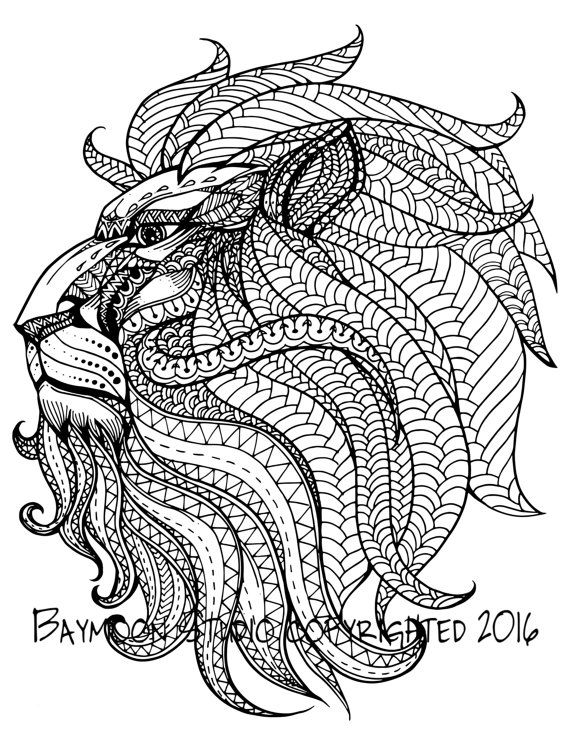 60ef86210fc Royal Lion Head Adult Coloring Pages