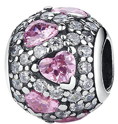 Chariot Trading  925 Sterling Silver Fancy Pink Heart Pave Ball Charm Beads *** Check this awesome product by going to the link at the image. (This is an affiliate link) #BallWatchforMen