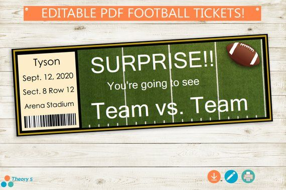 Printable And Editable Football Tickets Adobe Pdf Surprise Game Tickets Stub Birthday Present Custom Diy Surprise Gift Idea Party Sports With Images Football Ticket Football Game Tickets Printable Tickets