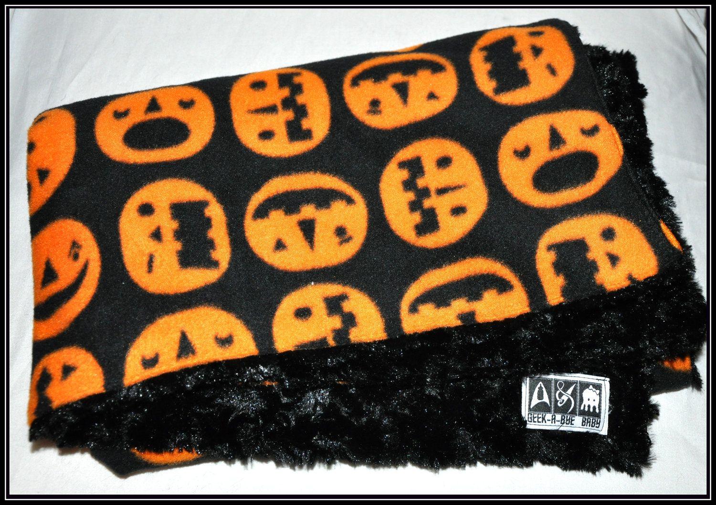 Halloween Jack-o-Lantern Pumpkin Fleece Blanket with Black Rosette Minky - Geek-a-bye Baby Blanket - Rock Geek - Handmade, Holiday. $25.00, via Etsy.