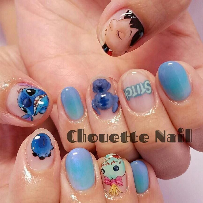 Nail Art Stitch: Nail Art Lilo & Stitch Par @chouettenail_tomomi
