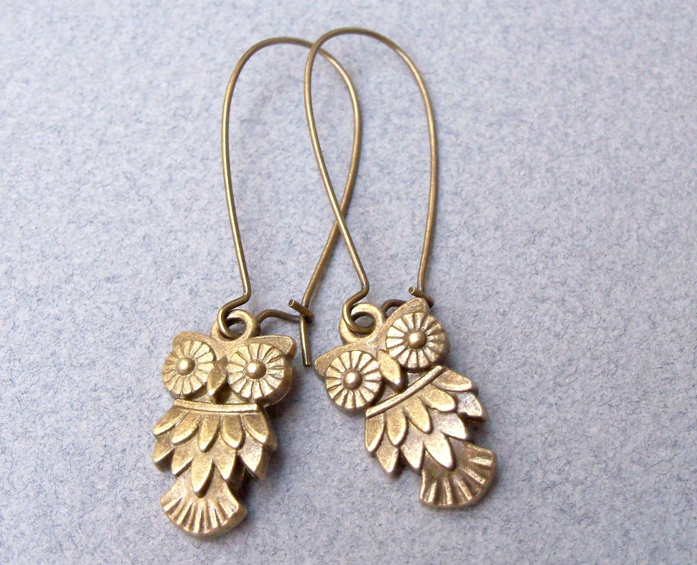 Sweet Textured Owl Earrings in Antique Brass. $14.00, via Etsy.