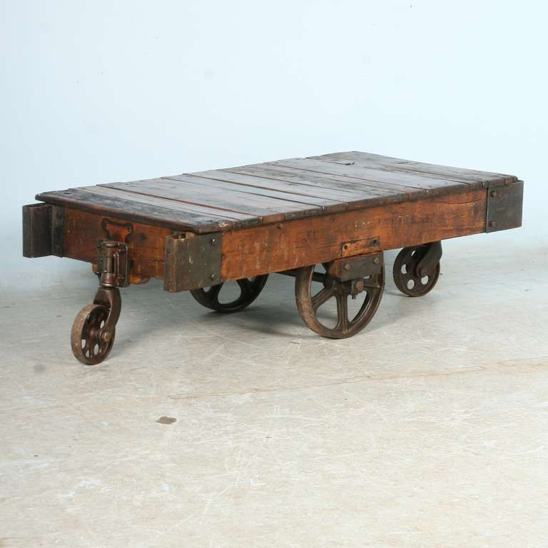 Antique Vintage Luggage Cart Coffee Table circa 1920 with Cast Iron
