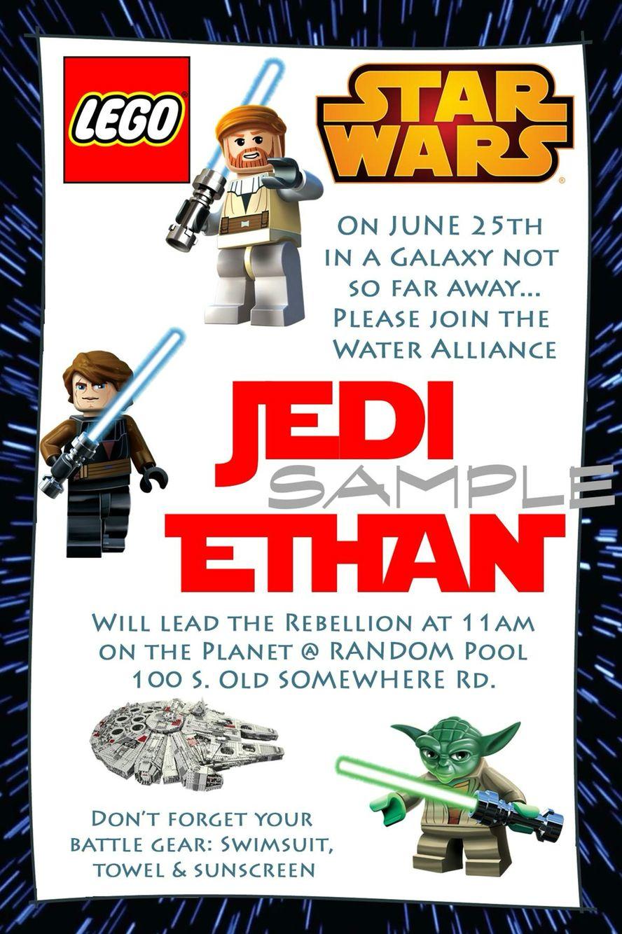 Lego Star Wars Birthday Invitation- Lego Birthday- Star Wars ...