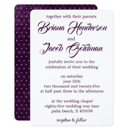 Simple Purple Wedding Invitation Modern Script And Weddings