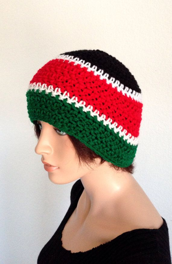 Crochet Kenya Beanie  Unisex Pan African Beanie by Africancrab a516f436e2d