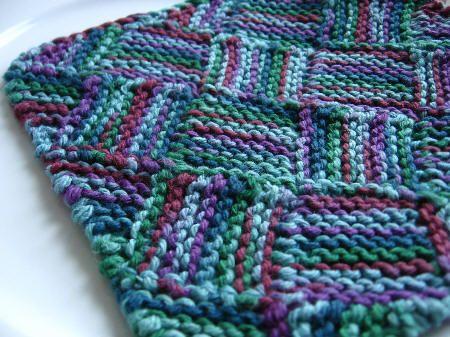 Entrelac Knitting Dishcloth Pattern : Garterlac Dishcloth For the Home Pinterest Dishcloth, Knitted dishcloth...