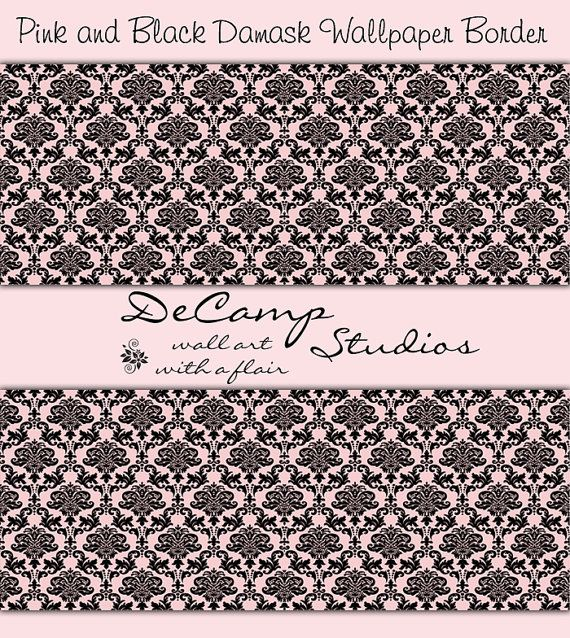 Pink And Black Damask Wallpaper Border Wall Decals For Baby Girl Nursery Or Any Family Home